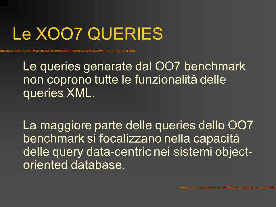 Le XOO7 QUERIES Le queries generate dal OO7 benchmark non coprono tutte le funzionalità delle queries XML.