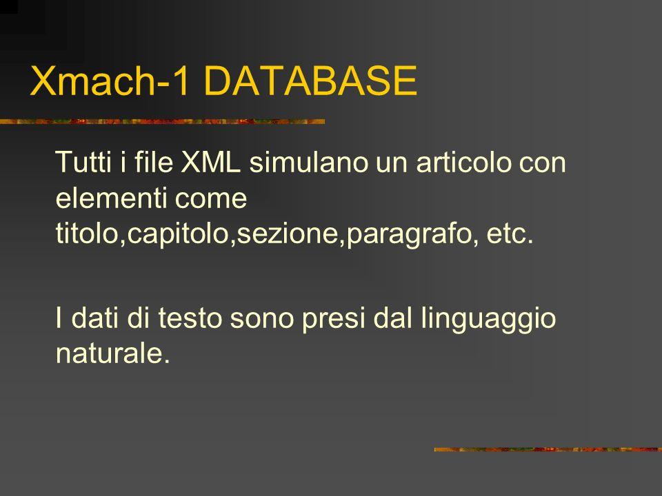 Xmach-1 DATABASE Tutti i file XML simulano un articolo con elementi come titolo,capitolo,sezione,paragrafo, etc.