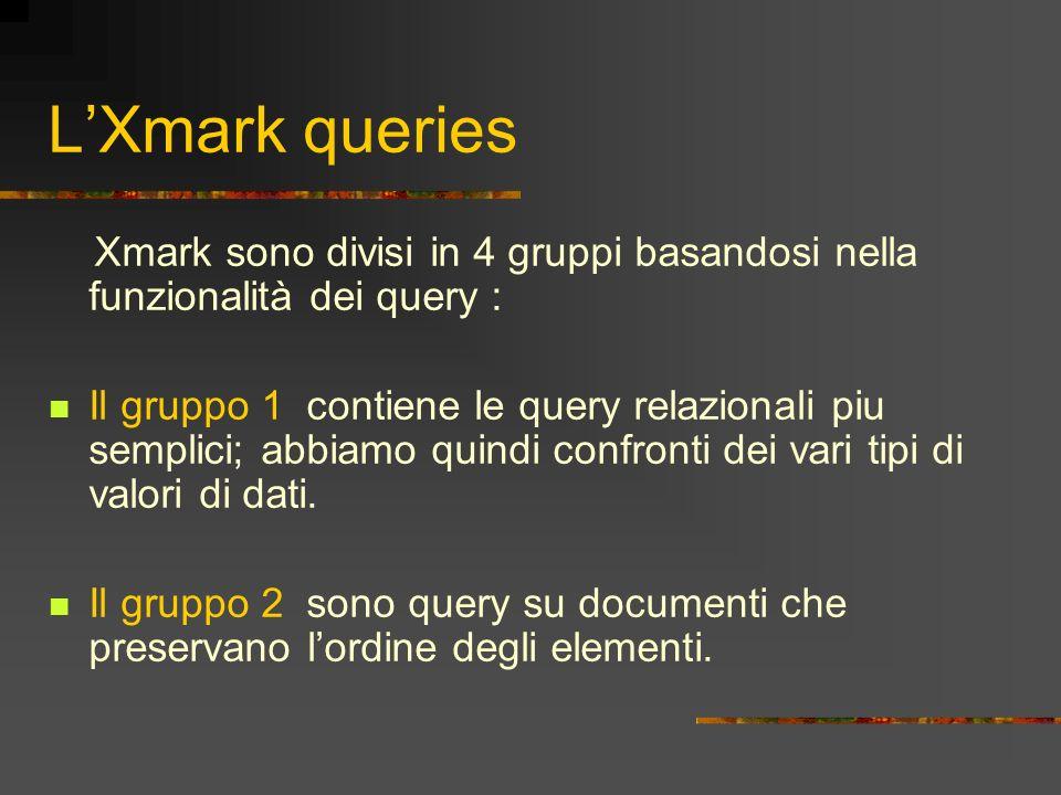 L'Xmark queries Xmark sono divisi in 4 gruppi basandosi nella funzionalità dei query :