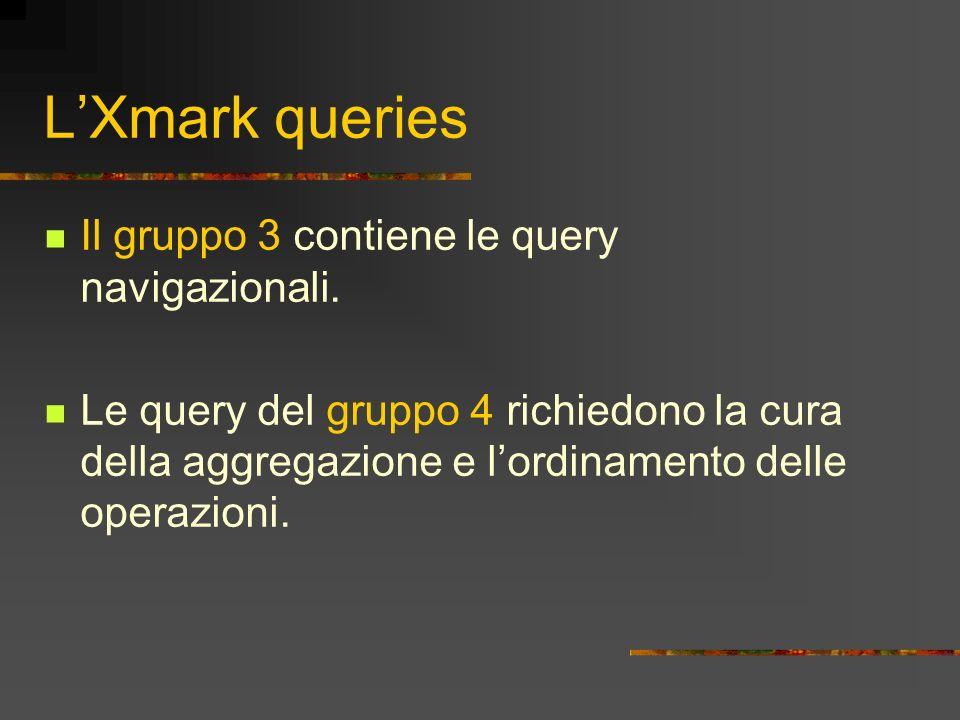 L'Xmark queries Il gruppo 3 contiene le query navigazionali.