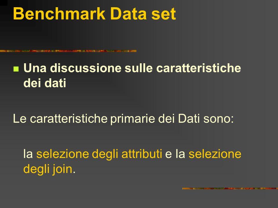 Benchmark Data set Una discussione sulle caratteristiche dei dati