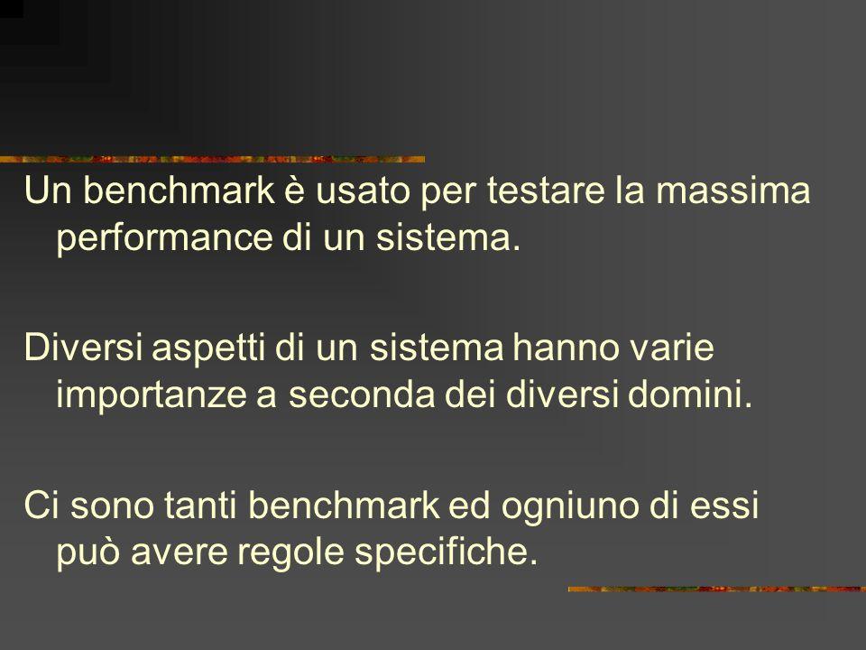 Un benchmark è usato per testare la massima performance di un sistema