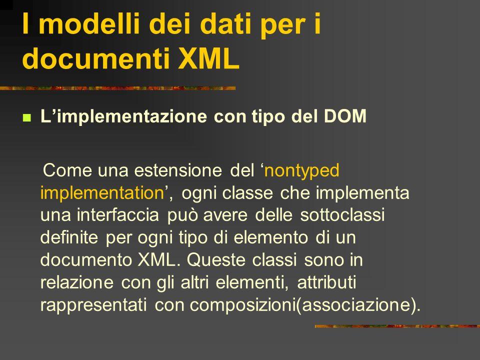 I modelli dei dati per i documenti XML