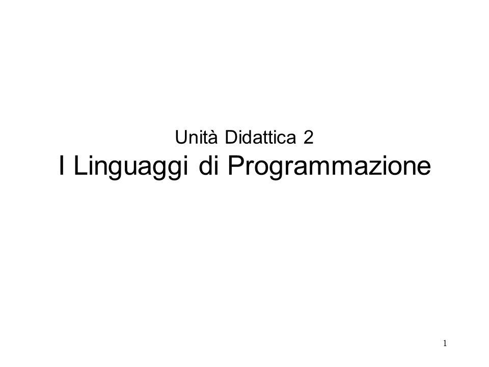 Unità Didattica 2 I Linguaggi di Programmazione