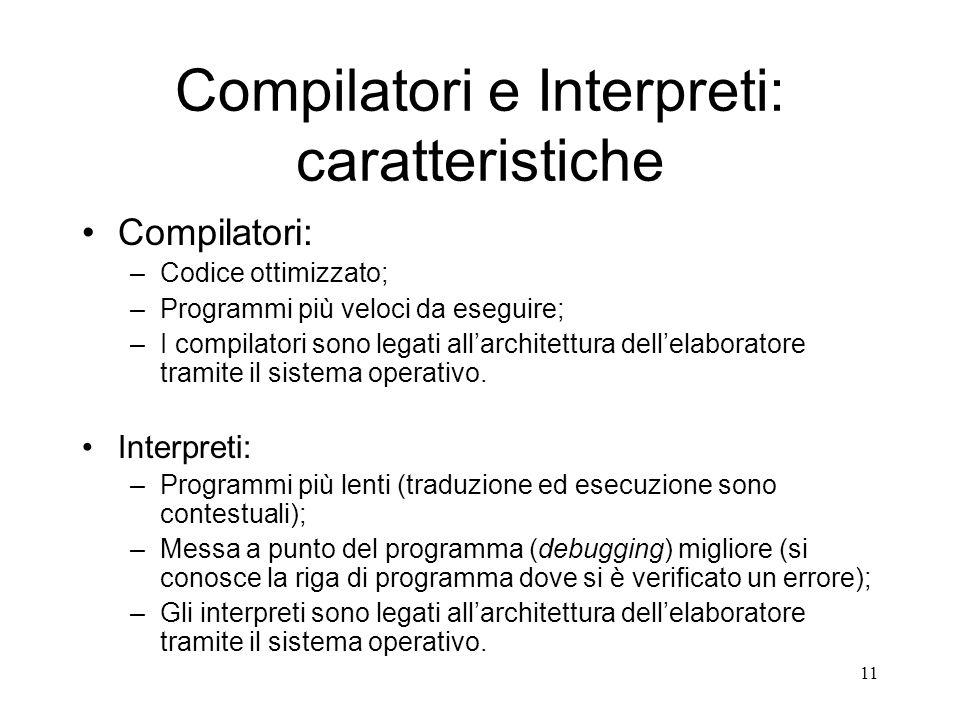 Compilatori e Interpreti: caratteristiche