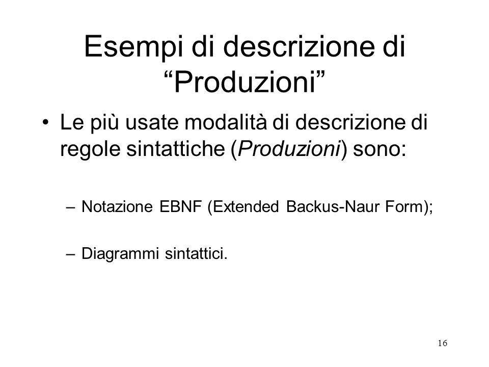 Esempi di descrizione di Produzioni
