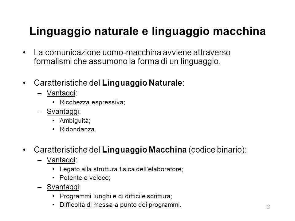 Linguaggio naturale e linguaggio macchina