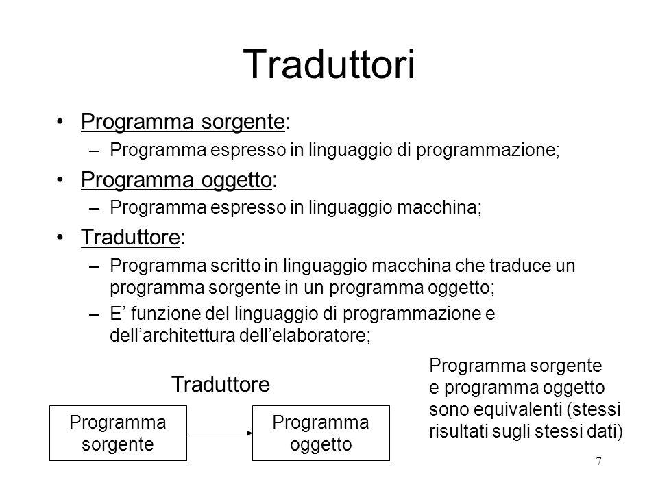 Traduttori Programma sorgente: Programma oggetto: Traduttore: