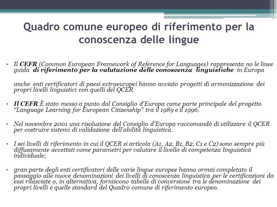 Quadro comune europeo di riferimento per la conoscenza delle lingue