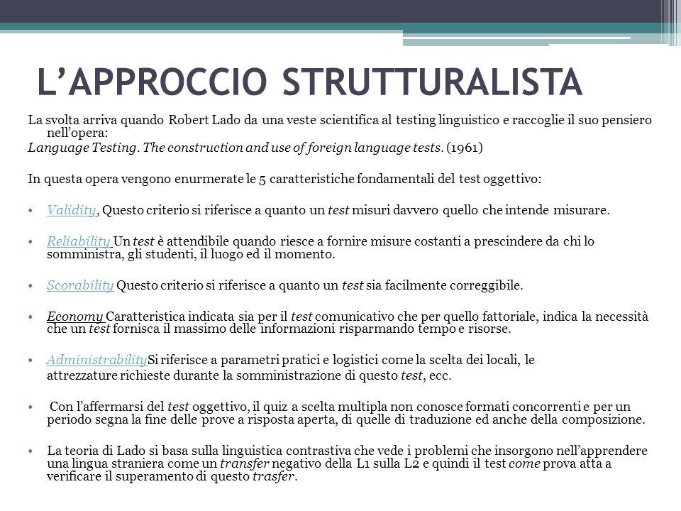 L'APPROCCIO STRUTTURALISTA