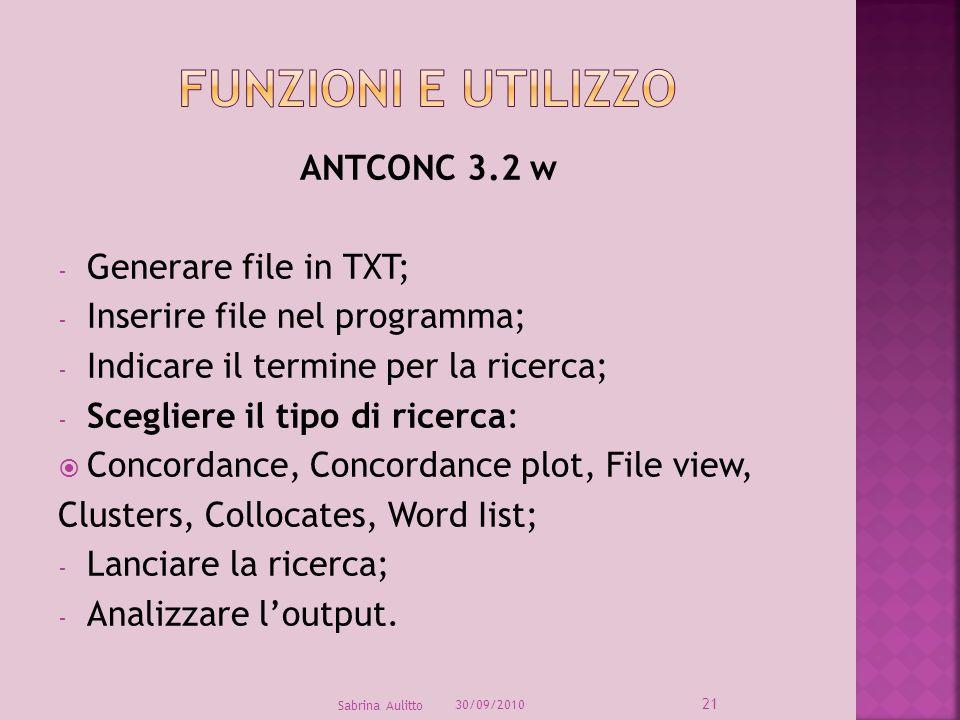 Funzioni e utilizzo ANTCONC 3.2 w Generare file in TXT;