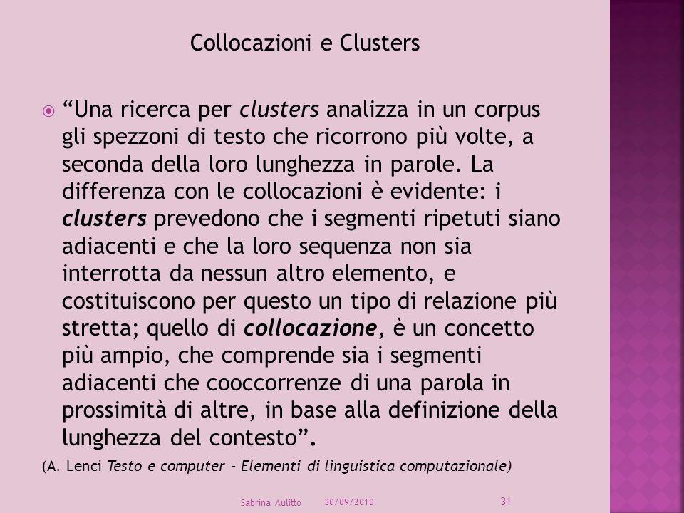 Collocazioni e Clusters