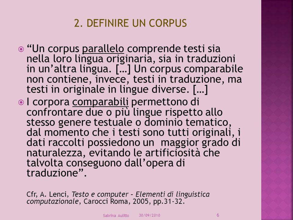 2. DEFINIRE UN CORPUS