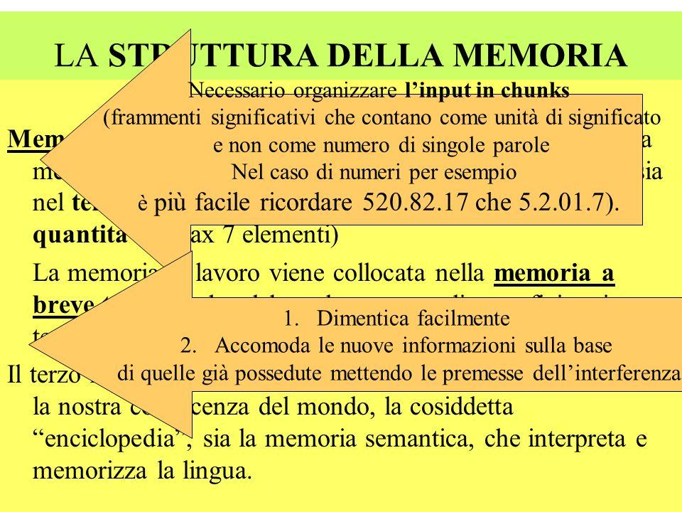 LA STRUTTURA DELLA MEMORIA