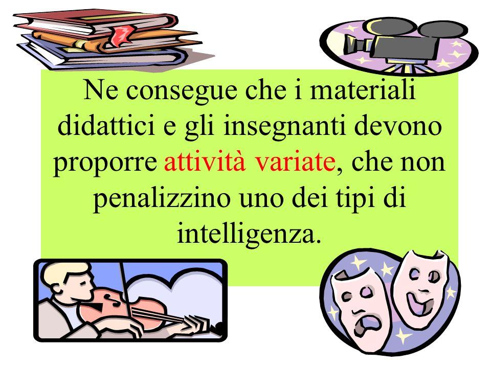 Ne consegue che i materiali didattici e gli insegnanti devono proporre attività variate, che non penalizzino uno dei tipi di intelligenza.