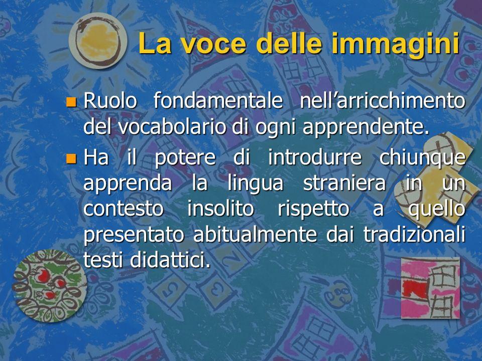 La voce delle immagini Ruolo fondamentale nell'arricchimento del vocabolario di ogni apprendente.