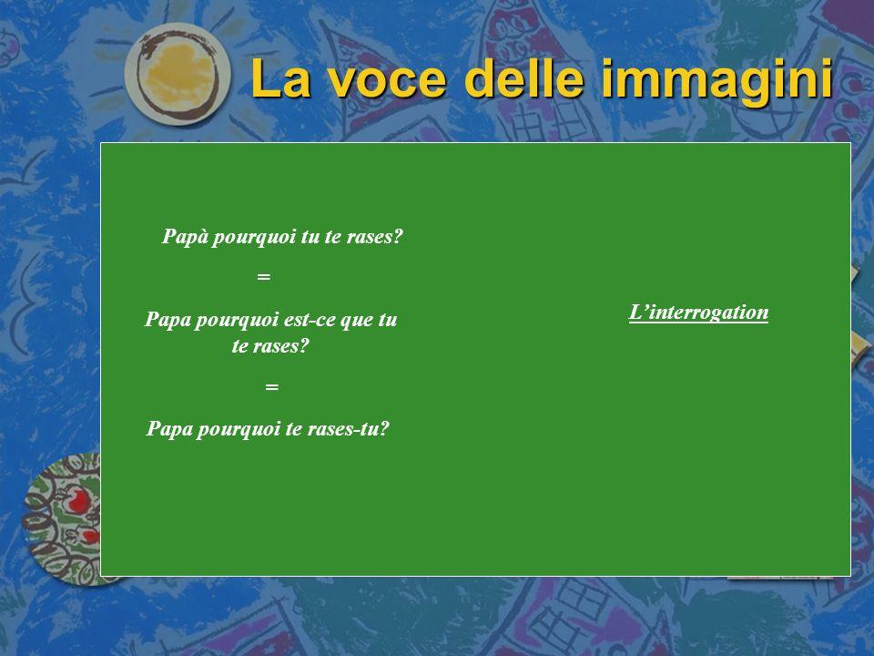 La voce delle immagini Papà pourquoi tu te rases = L'interrogation