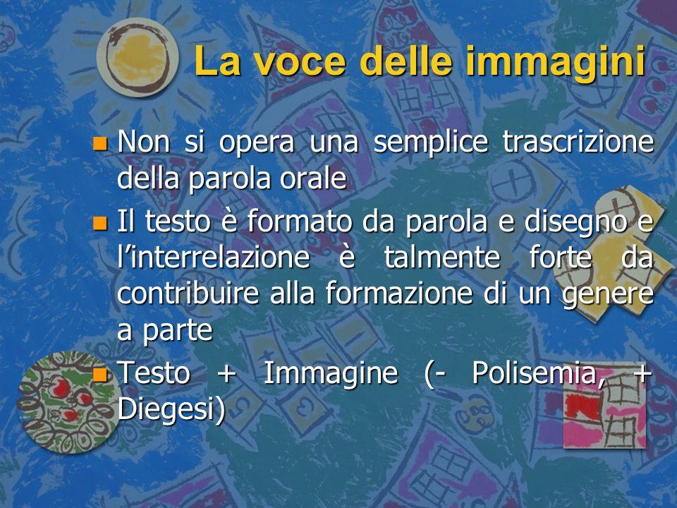La voce delle immagini Non si opera una semplice trascrizione della parola orale.