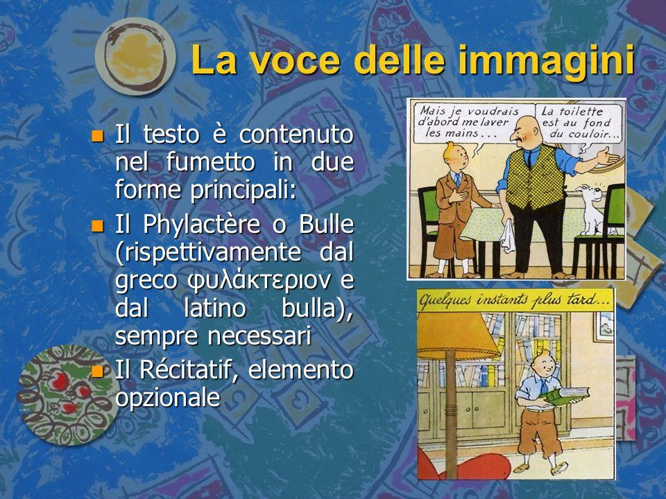 La voce delle immagini Il testo è contenuto nel fumetto in due forme principali: