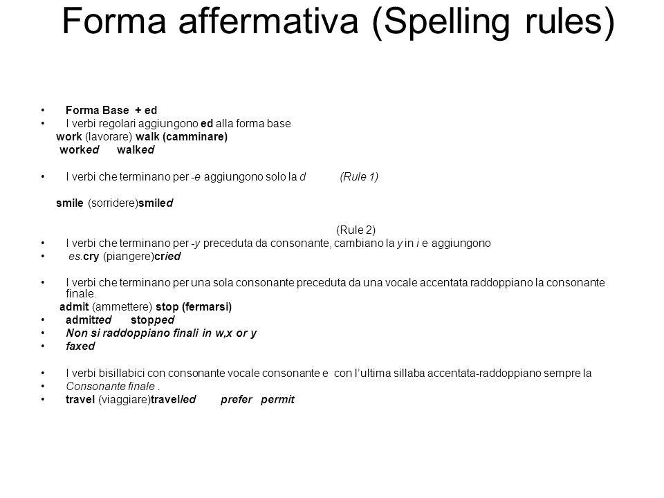 Forma affermativa (Spelling rules)