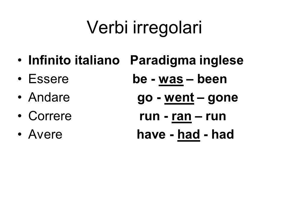 Verbi irregolari Infinito italiano Paradigma inglese