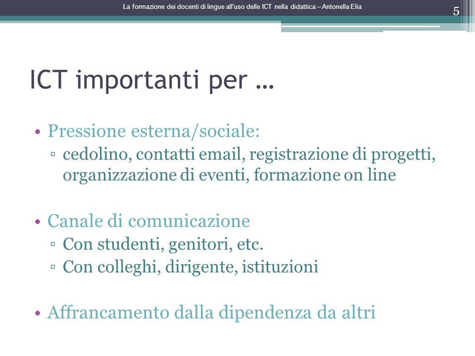 ICT importanti per … Pressione esterna/sociale: