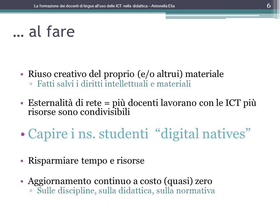 … al fare Capire i ns. studenti digital natives