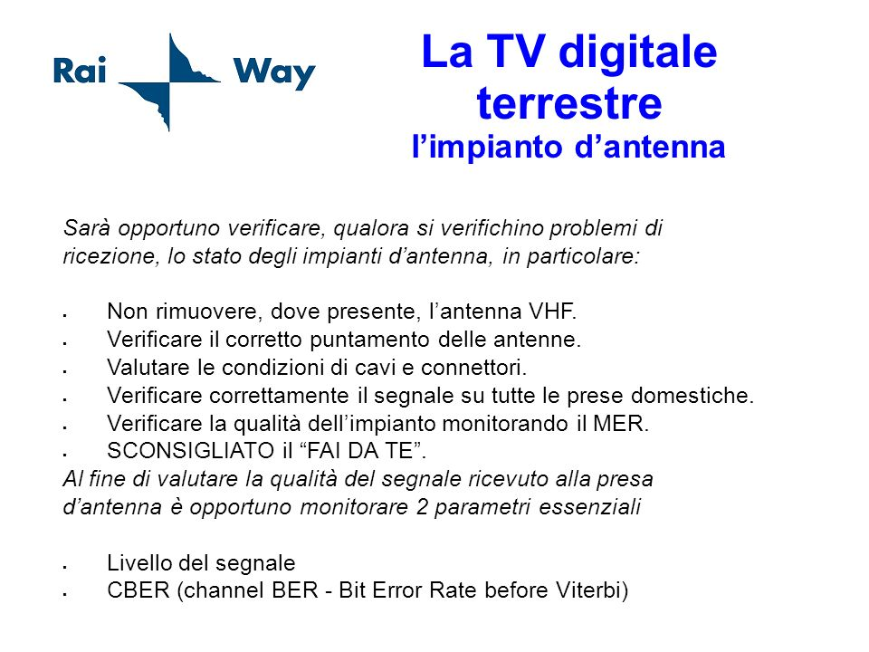 La TV digitale terrestre l'impianto d'antenna
