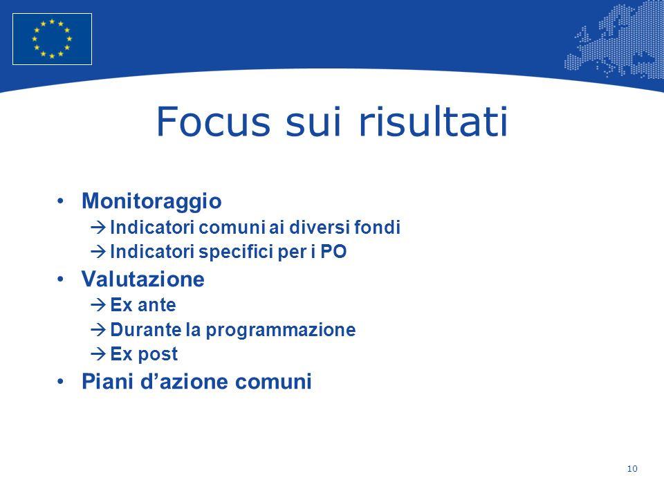 Focus sui risultati Monitoraggio Valutazione Piani d'azione comuni
