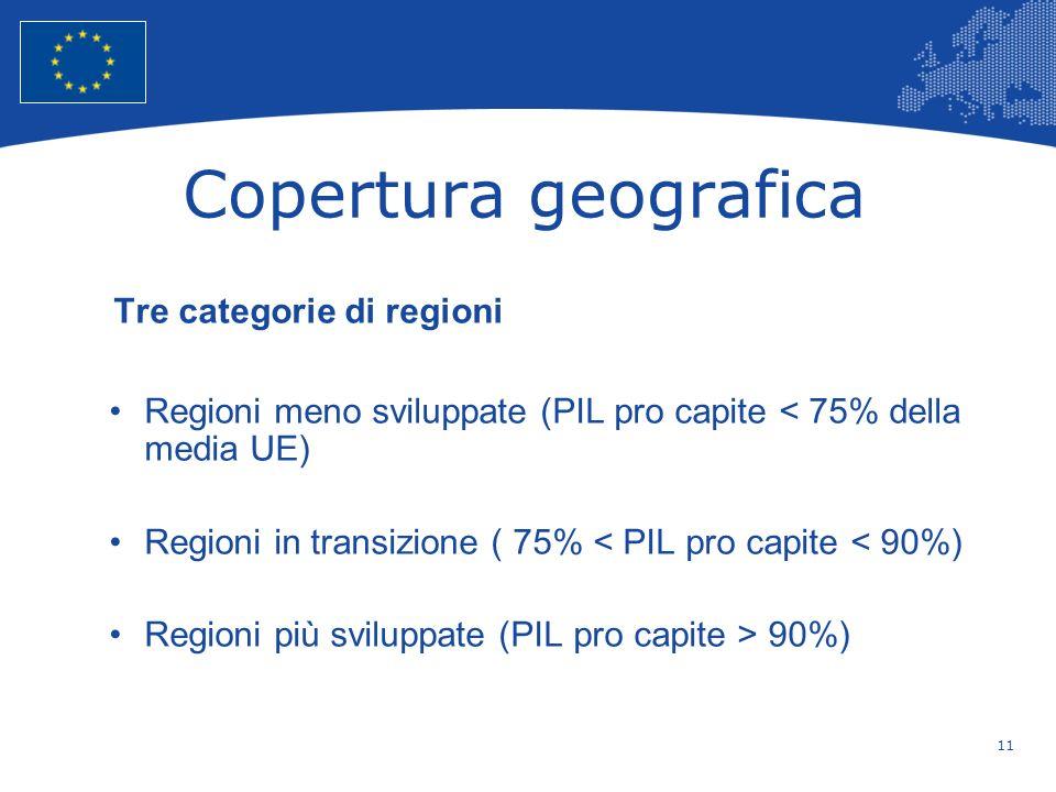 Copertura geografica Tre categorie di regioni
