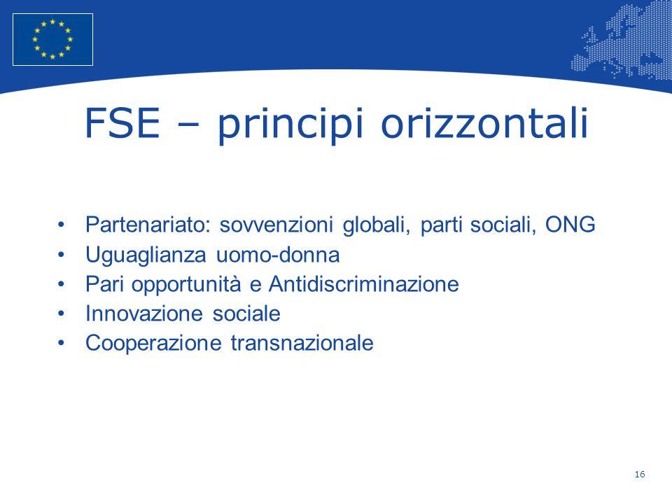 FSE – principi orizzontali