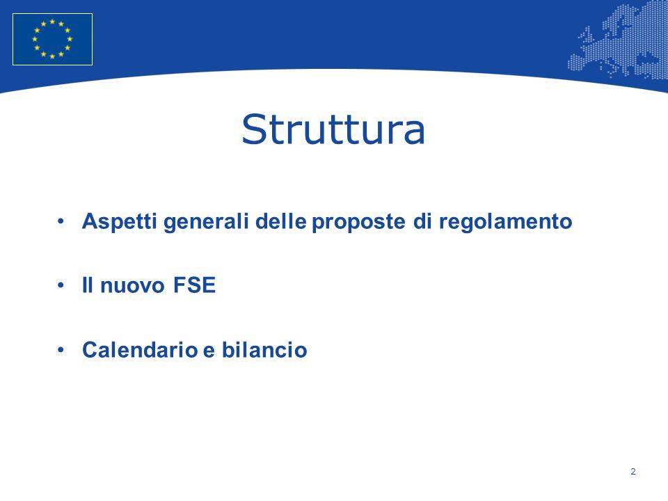 Struttura Aspetti generali delle proposte di regolamento Il nuovo FSE