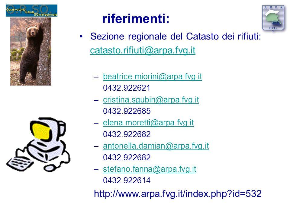 riferimenti: Sezione regionale del Catasto dei rifiuti: