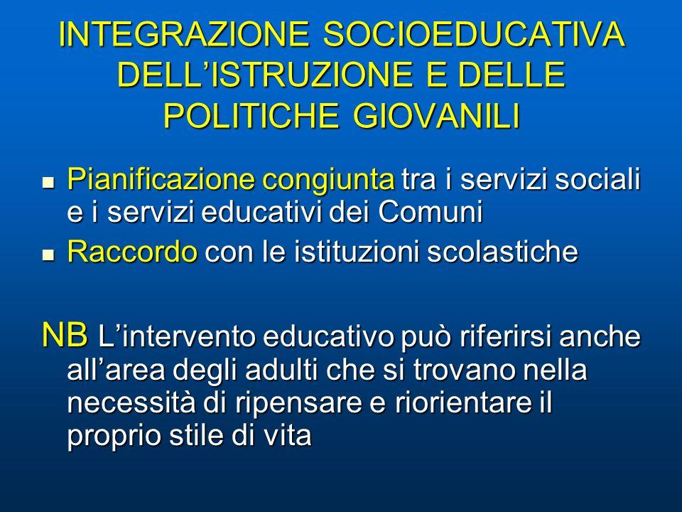 INTEGRAZIONE SOCIOEDUCATIVA DELL'ISTRUZIONE E DELLE POLITICHE GIOVANILI