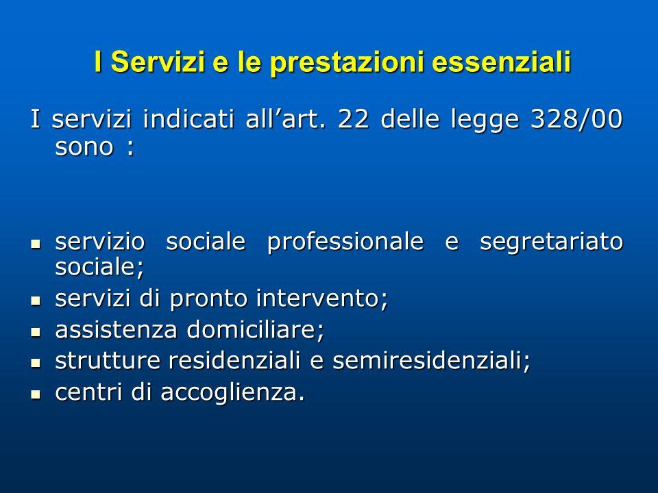I Servizi e le prestazioni essenziali