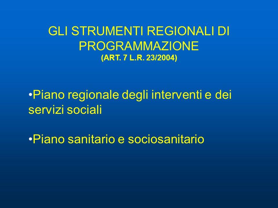 GLI STRUMENTI REGIONALI DI PROGRAMMAZIONE (ART. 7 L.R. 23/2004)
