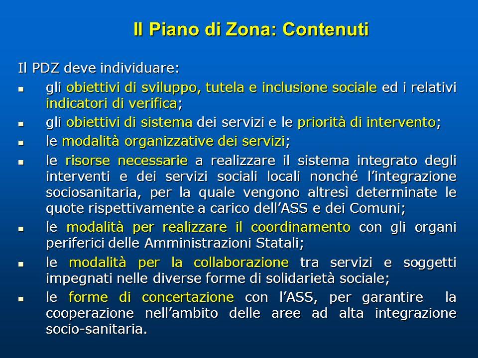 Il Piano di Zona: Contenuti