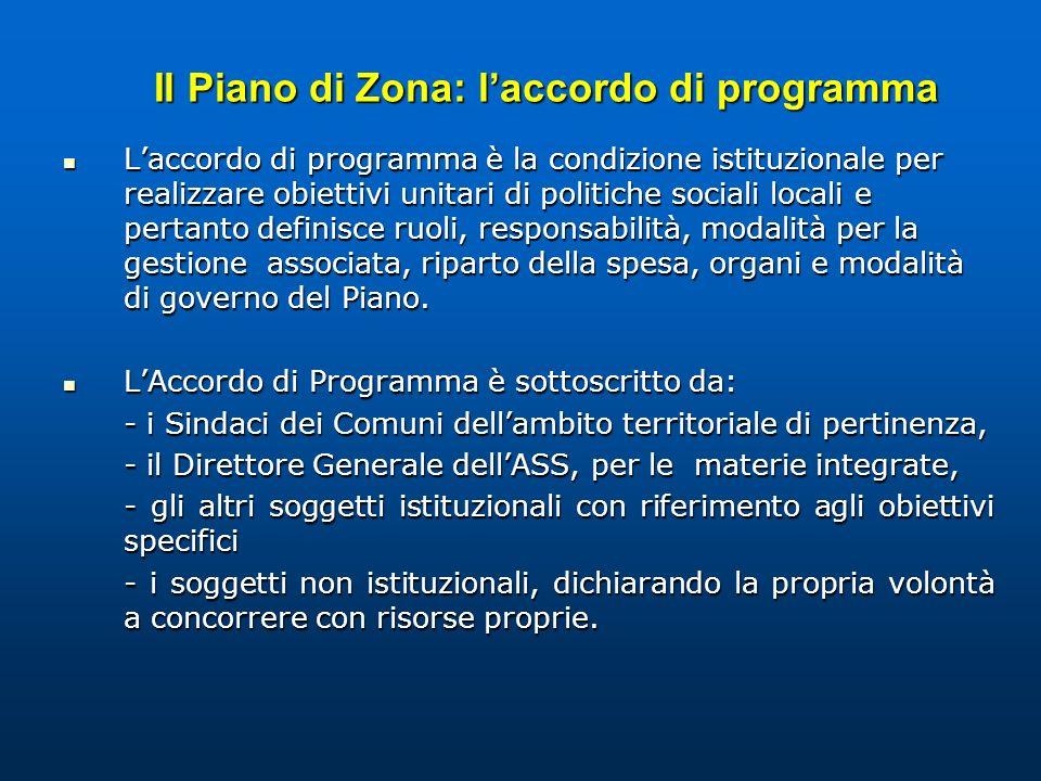 Il Piano di Zona: l'accordo di programma