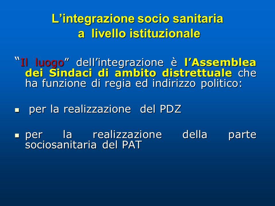 L'integrazione socio sanitaria a livello istituzionale