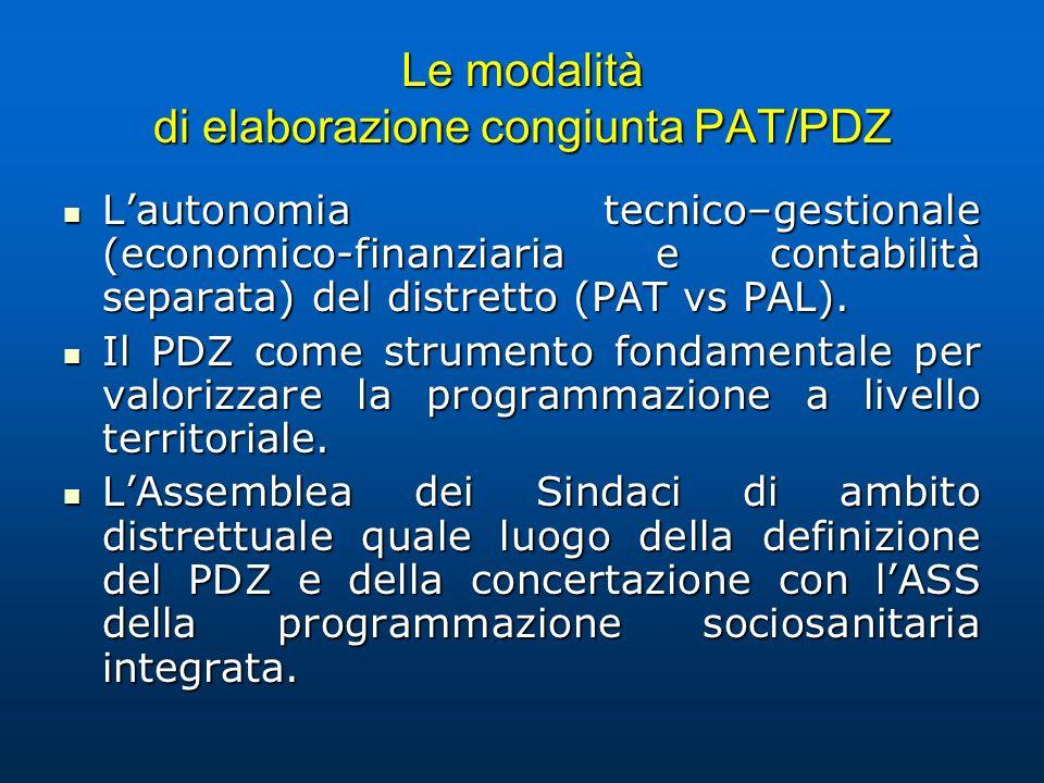 Le modalità di elaborazione congiunta PAT/PDZ