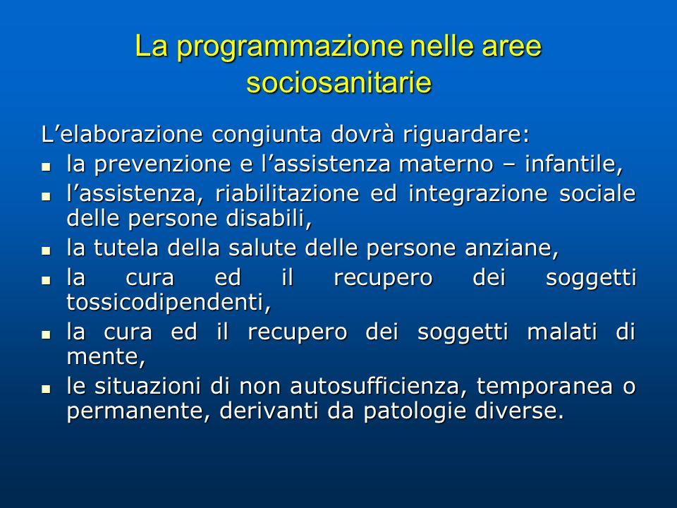 La programmazione nelle aree sociosanitarie