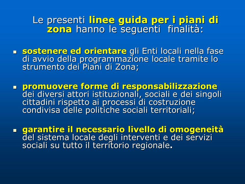 Le presenti linee guida per i piani di zona hanno le seguenti finalità: