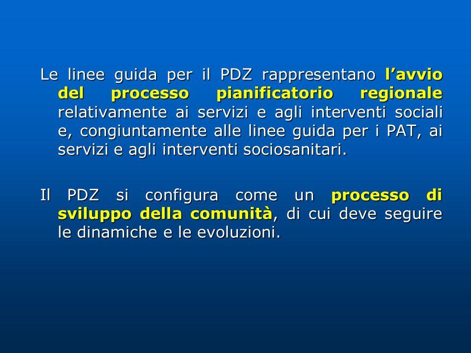 Le linee guida per il PDZ rappresentano l'avvio del processo pianificatorio regionale relativamente ai servizi e agli interventi sociali e, congiuntamente alle linee guida per i PAT, ai servizi e agli interventi sociosanitari.
