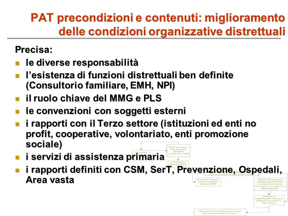 PAT precondizioni e contenuti: miglioramento delle condizioni organizzative distrettuali