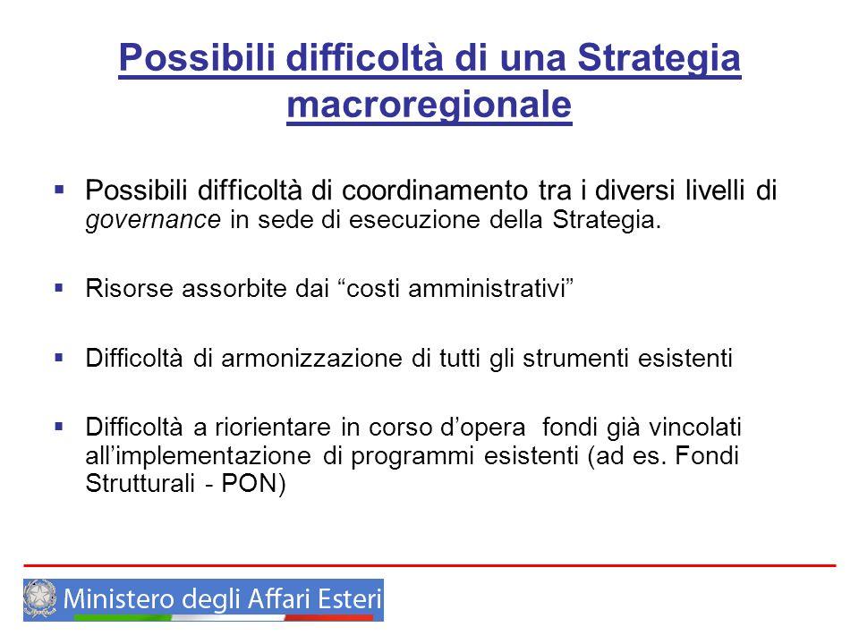 Possibili difficoltà di una Strategia macroregionale