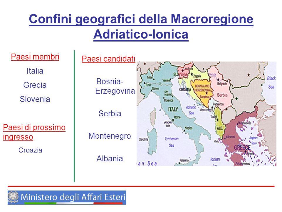 Confini geografici della Macroregione Adriatico-Ionica