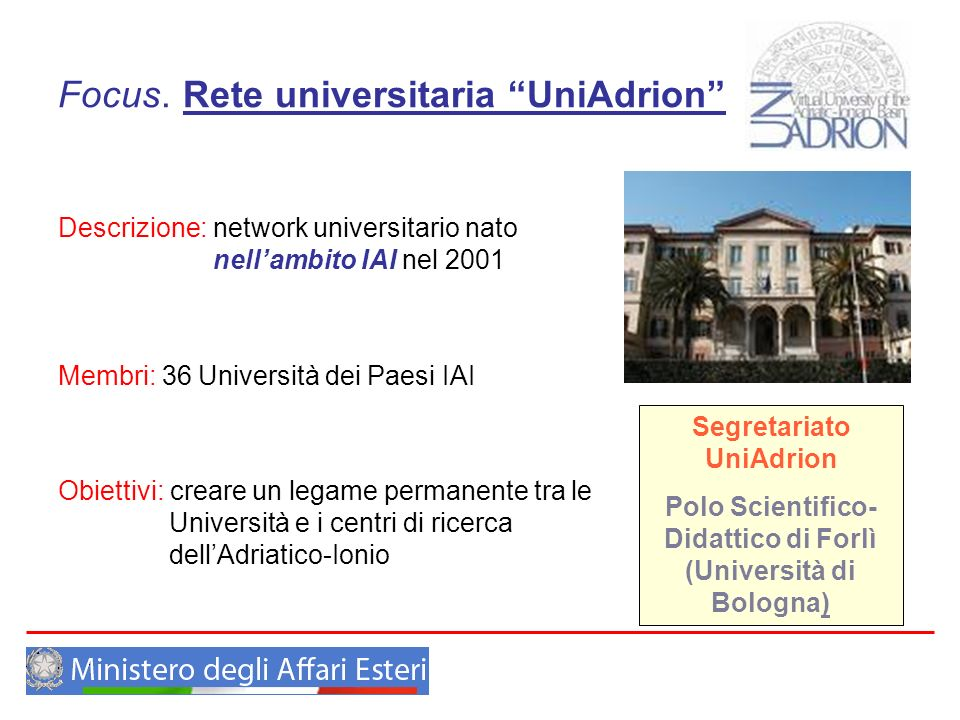 Focus. Rete universitaria UniAdrion