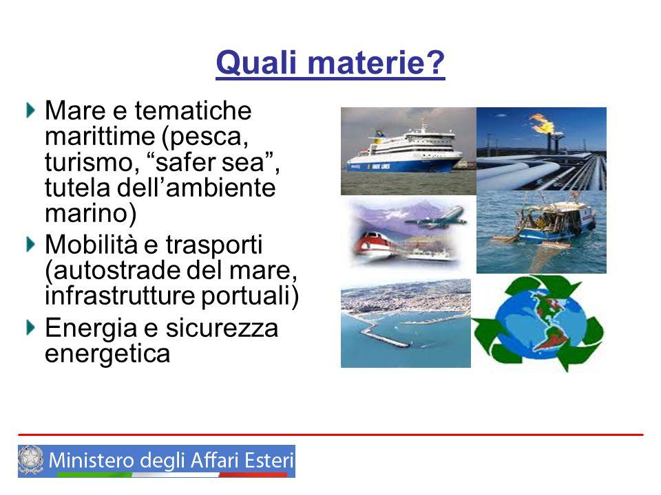 Quali materie Mare e tematiche marittime (pesca, turismo, safer sea , tutela dell'ambiente marino)