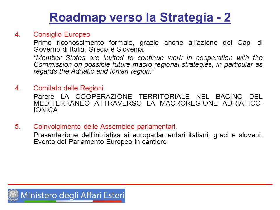 Roadmap verso la Strategia - 2