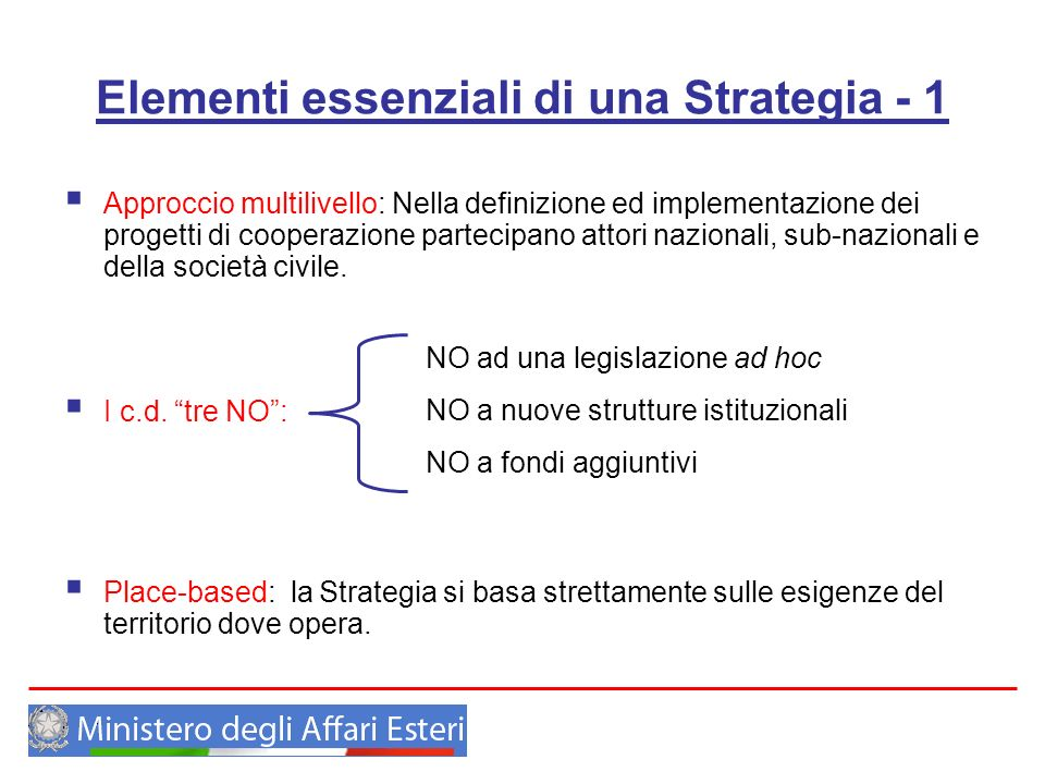 Elementi essenziali di una Strategia - 1